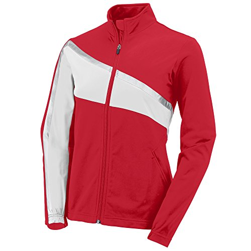 Augusta Sportswear Womens Aurora Jacket, Red/White/Metallic Silver, Small