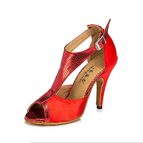 XUE Women's Latin Shoes/Ballroom Shoes Satin/Silk Sandal Indoor/Professional Buckle Heel Dance Shoes Party & Evening Purple, Colour, Red (Color : A, Size : 34) C