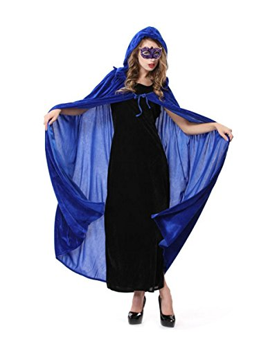 Masquerade Costumes - Orfila Women Full Length Halloween Cloak Masquerade Velvet Hooded Cape Robe Drama Cosplay Costumes Witch Wizard Magician,Blue