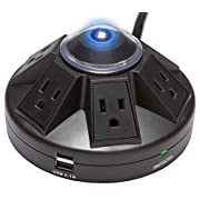 Accell Powramid USB Surge Protector - 2 USB Charging Ports (2.1A), 6 Outlets, 6-Foot Cord, 1080 Joules, UL Listed - Black Grounded Extension Cord Power Strip