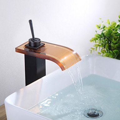 Antique Oil Rubbed Bronze Glass Waterfall Glass Spout One Hole Single Handle Bathroom Sink Faucet