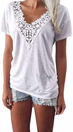 ZANZEA Casual Ladies Lace Crochet V-Neck Short Sleeve Cotton Loose Blouse Tops Shirts