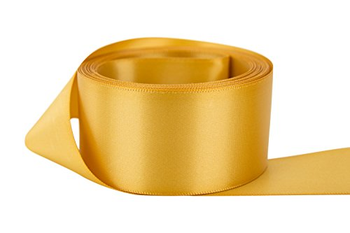 Gold Polyester Ribbon (Ribbon Bazaar Double Faced Satin 1-1/2 inch Old Gold 50 yards 100% Polyester Ribbon)