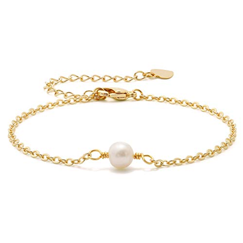 Real Pearl Bracelet - Tiny Cultured Pearl Bracelet 18K Gold Chain Turquoise Link Bracelet Sets Minimalist Layering Stacking Jewelry for Women