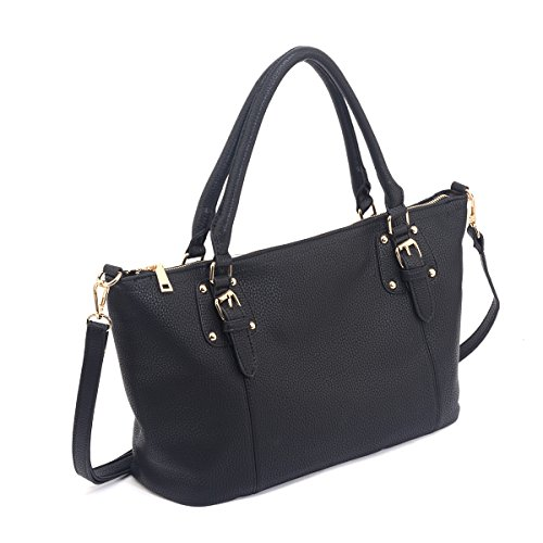 Women high quality shoulder shopping bags medium handbags (Black) - 8