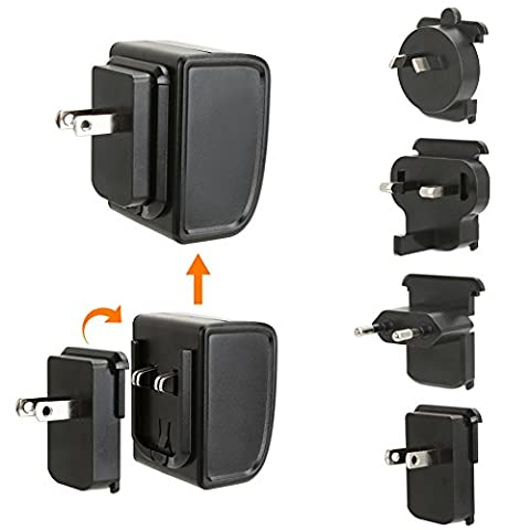 International 4-Port USB Charger - EZOPower 24W Quattro USB Travel Charger with 4 Interchangable Adapter EU/AU/UK/US - Black (Huawei Ascend Y600 Battery)