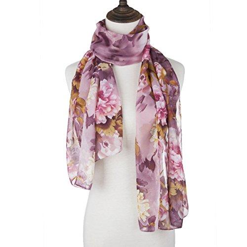 ChikaMika Printing Peony Silk Scarf Light Weight Long Chiffon Silk Scarves (Dark Purple)