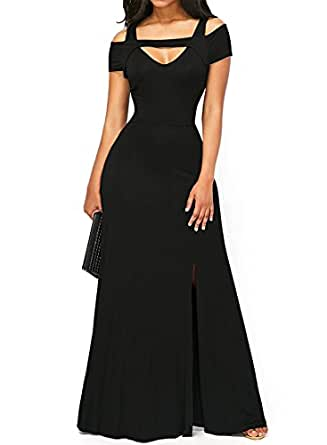 Bulawoo Women's NightClub Short Sleeve Sexy Cold Shoulder Flared Maxi Party Dress Small Size Black