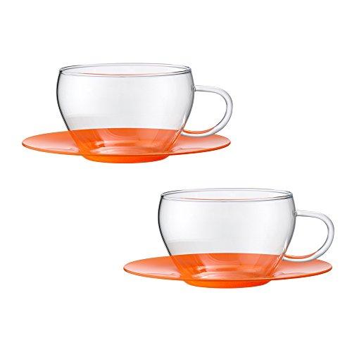 Bohemia Cristal 093012103Play of Colors Set of 2Coffee/Espresso Cups Made of Borosilicate Glass with Glass Saucer Plastic Tumbler, Orange, 100x 100x 6cm 2Units