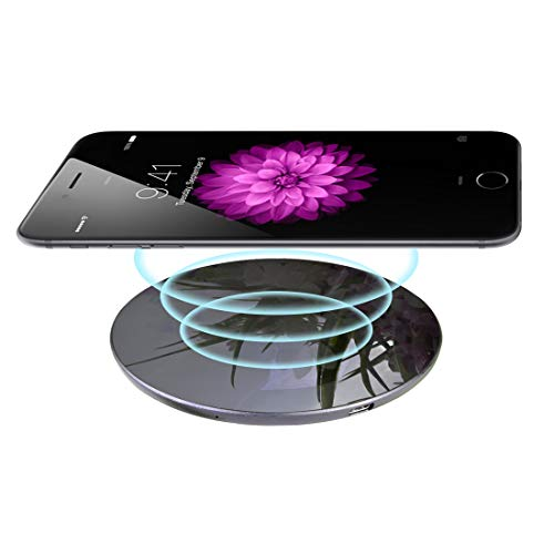 15W Wireless Charger,Glamore Qi-Certified Wireless Charging Pad, Compatible iPhone Xs Max/XR/XS/8/8 Plus,iPhone X, Fast Charging Samsung Galaxy S9/S9+/S8/S8+/S7/S7 Edge More(No AC Adapter) (Black-5w)