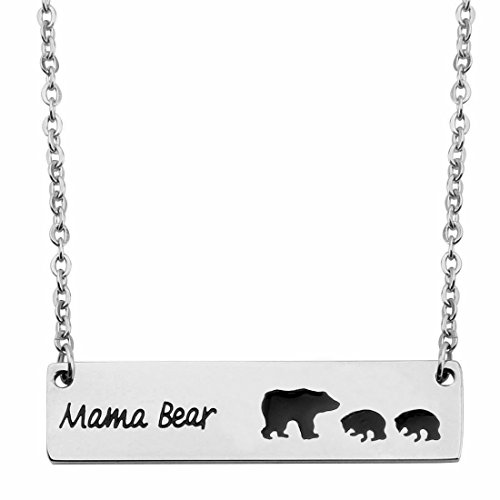 KUIYAI Sweet Family Mama and Baby Bear Bar Necklace Gift for Mothers with 2 Children (bar 2 Cubs)