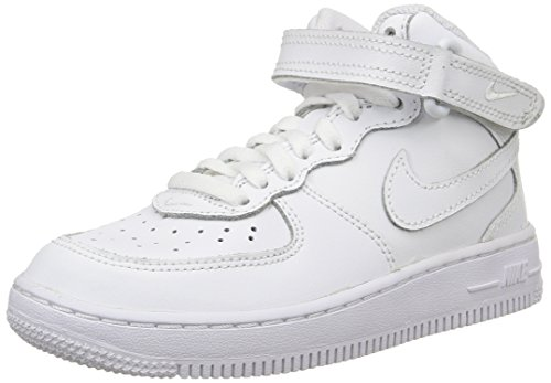 Nike Kids Force 1 Mid  White/White/White Basketball Shoe 13.