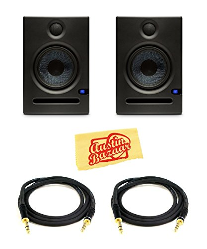 PreSonus Eris E5 2-Way Active Studio Monitor Pair Bundle with TRS Cables and Austin Bazaar Polishing Cloth