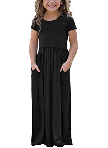SOLO POP Girls Short Sleeve Long Maxi Dress