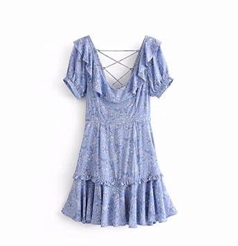 SONGQINGCHENG Boho Azul Vestido Floral De Rayón Imprimir Volver Hueco Corto Verano Vestidos Vestidos Hippie Chic