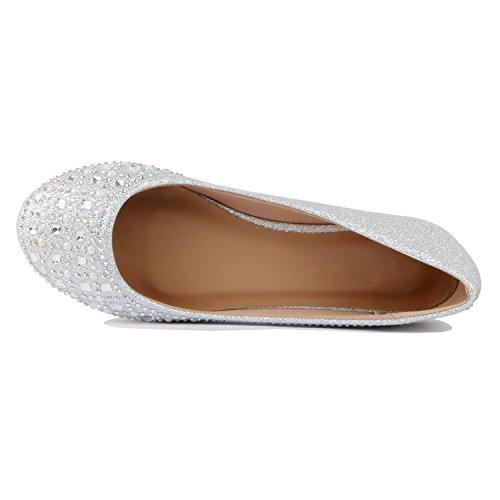 Womens Heart Guilty Slip Flats On Classic Ballet Silver Stud Rhinestone Glitter Ballerina Comfortable Square FApqdwp5