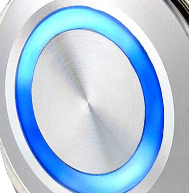 25mm White Illuminated LED Metal 6 Pins Self-locking Latching Push Button electric Vandal Resistant Switch Waterproof 6V,12V,24V - (Color: Blue, Voltage: 110V)
