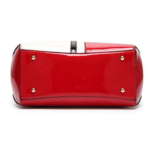 Red Brillant Bandoulière Verni Main Cuir à Pour LQQAZY En Sac à Femme CR8PxxZwq