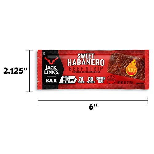 Jack Link's Beef Strips, Sweet Habanero, 12 Count – Great Protein Bar, 7g of Protein and 80 Calories, Made with Premium Beef, Gluten Free, No added MSG or Nitrates/Nitrites