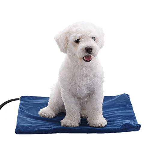 Pet Heating Pad Waterproof Adjustable Warming Mat Chew Resistant Fleece Removable Cover for Dog Cat by Anjoy