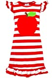 Unique Baby Girls Back to School Apple Shirt Dress (7/XXL, Red)