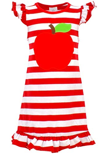 Unique Baby Girls Back to School Apple Shirt Dress (3T/S, Red) -