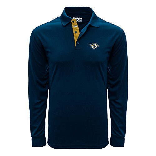 Levelwear LEY9R NHL Nashville Predators Adult Men Annex Icon Heather Long Sleeve Polo, Small, Navy -