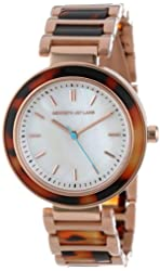 Kenneth Jay Lane Women's KJLANE-2009  Mother-Of-Pearl Dial Rose Gold Ion-Plated Stainless Steel and Brown Tortoise Resin Watch