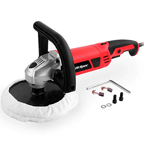 """Hi-Spec 1200W Heavy Duty Rotating 7"""" Buffer Kit – Variable Speed Switch, Constant Speed Switch & Soft Wool Buffing Pad - Buff, Polish, Fix Paint Imperfections & Detail Car Auto Paint, Countertops Hi-Spec Products"""