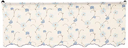(Ellis Curtain Zoe Crushed Taffeta Open Floral Print Valance, 48 by 15-Inch, Blue)