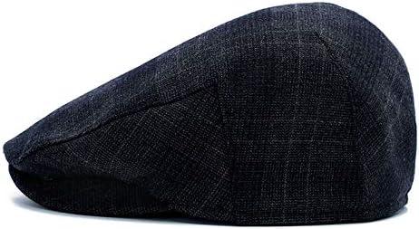 Adantico Sombrero de Invierno para Hombres Gorra Plana Boina de PU Gorra a Cuadros Newsboy Caps