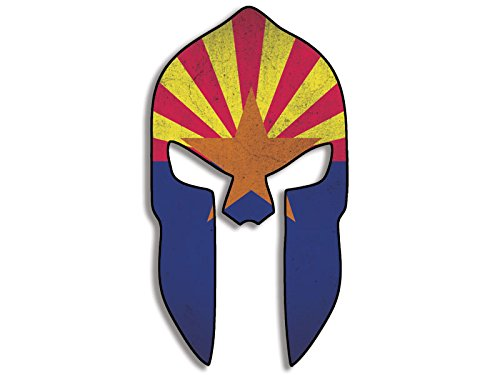 LARGE Spartan Helmet Shaped Distressed ARIZONA Flag Sticker