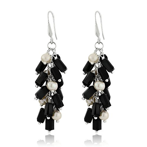 (Gem Stone King Black Cluster Faceted Crystal Dangling Earrings with Cultured Freshwater Pearl)