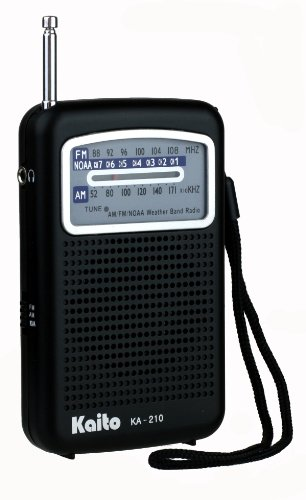 Kaito KA210 Pocket AM/FM NOAA Weather Radio, (Walkman Speaker System)