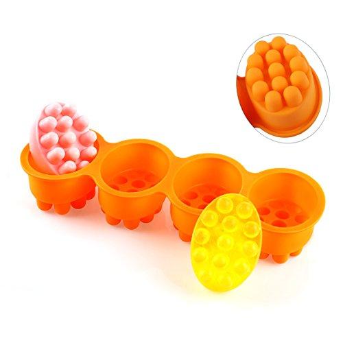 Massage Bar Silicone Soap Mold, Professional Grade Handmade Soap Making Mold (Orange) (Massage Bar Mold)