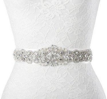 Aplique de brillantes sintéticos ShinyBeauty, cinturón para vestidos de novia y