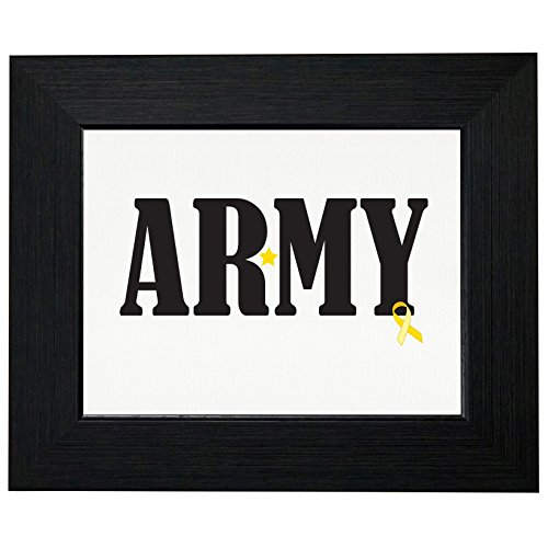 Army Military Troops Support Yellow Ribbon Framed Print Poster Wall or Desk Mount Options