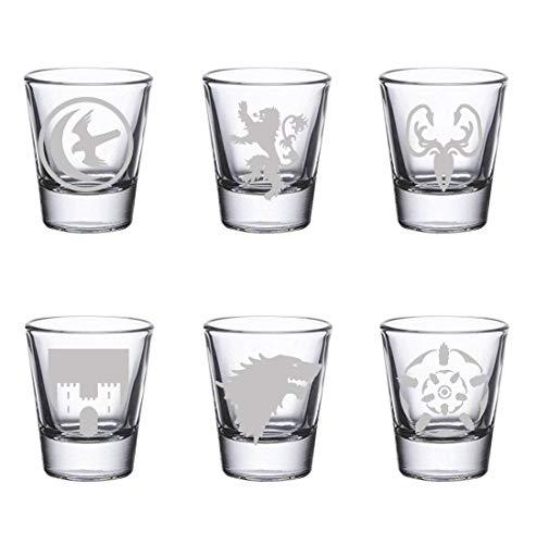GoT Shot Glass Set (By Brindle Designs) Arryn, Frey, Greyjoy, Lannister, Stark and Tyrell set of SIX etched shot glasses