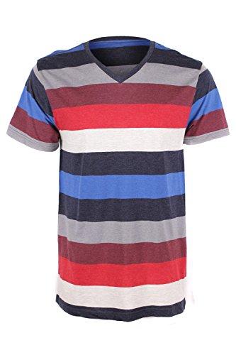 G Zap Men's Striped V-Neck Short Sleeve Tee(MENTOP-CAS,MULA5-XL)