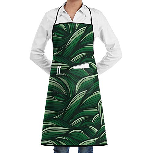 Green Linear Abstract Art,Kitchen Chef Apron with Big Pockets - Chef Apron for Cooking,Baking,Crafting,Gardening and BBQ Unisex Chef's Aprons Deluxe