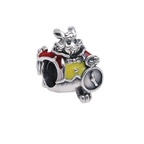PANDORA Disney White Rabbit with Scarlet Red Charm 791898ENMX, Two Piece Bundle, with Pandora Clasp Opener (Red Rabbit Charm)