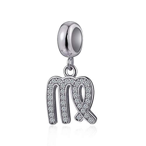 Virgo Zodiac Sign Charms for Pandora Charm Bracelets - 925 Sterling Silver Necklace Pendants, 12 Constellation/Horoscope Star Dangle - Dangling Birthstone Beads, Birthday Gifts Women/Men/Girls/Boys.