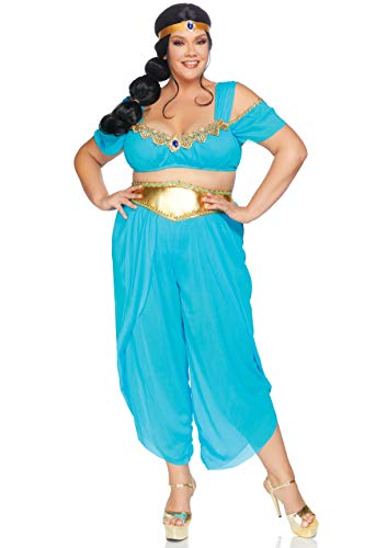Leg Avenue Women's Plus Size 3 Pc Sexy Desert Princess Costume, Turquoise, 3X-4X -