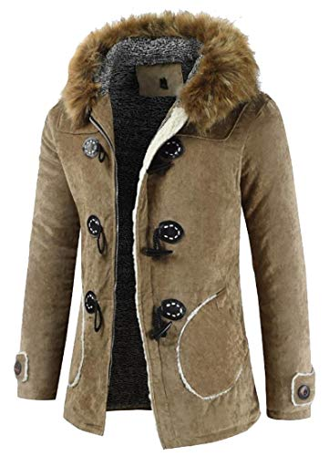 Generic Men's Winter Removable Hooded Horn Buckle Midi Packable Parka Jackets Camel XS