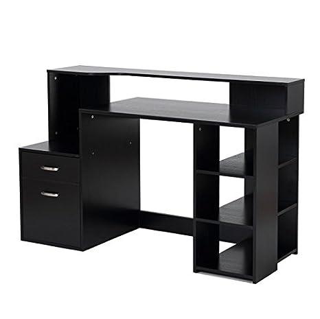 Amazon.com: Negro Computadora computadora 2 Cajones Easy ...
