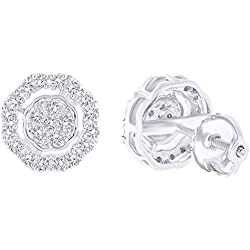 Round Cut Champagne Natural Diamond Halo Stud Earrings In 10K Solid Gold (0.28 Ct)