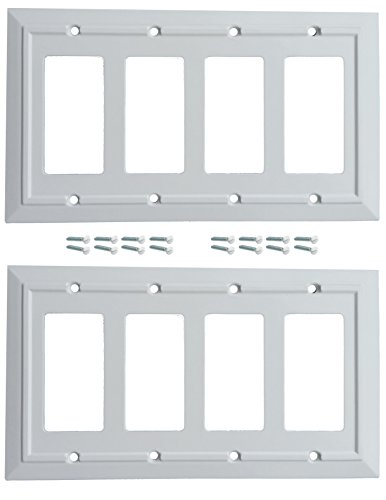 Pack of 2 Wall Plate Outlet Switch Covers by SleekLighting | Classic Architecture Wall plates| Variety of Styles: Rocker/Receptacle/Toggle / & Combo | Size: 4 Gang Decorator