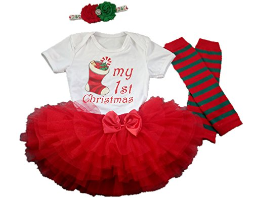 AISHIONY 4PCS Baby Girl My 1st Christmas Costume Tutu Dress Infant Outfit L ()