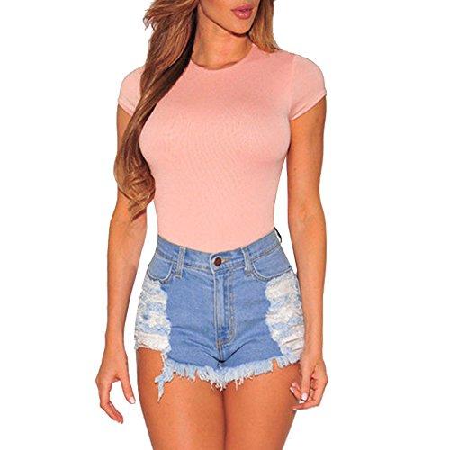 dchir Denim Shorts Hot taille haute Letter Skinny Pants Beach Bleu Femmes t Jeans q4w0xcYtCc