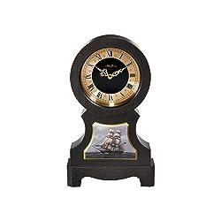 Seth Thomas Bounty Black Finish Wood Case with Gold Tone and Black Dial Nautical Ship Base Mantel Clock